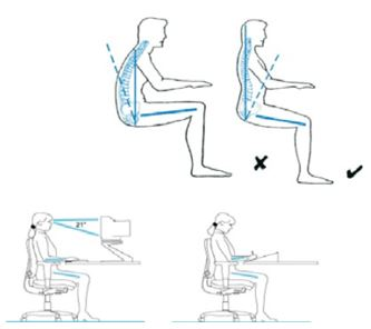 Correct posture when sitting and working